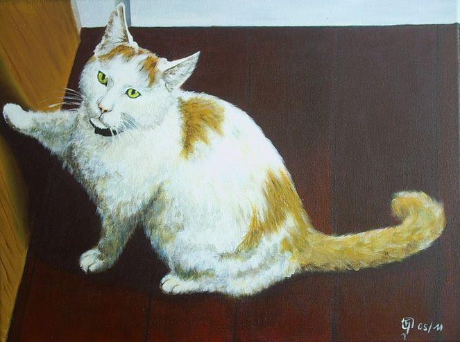 Katze, Tür, Malerei, Tiere