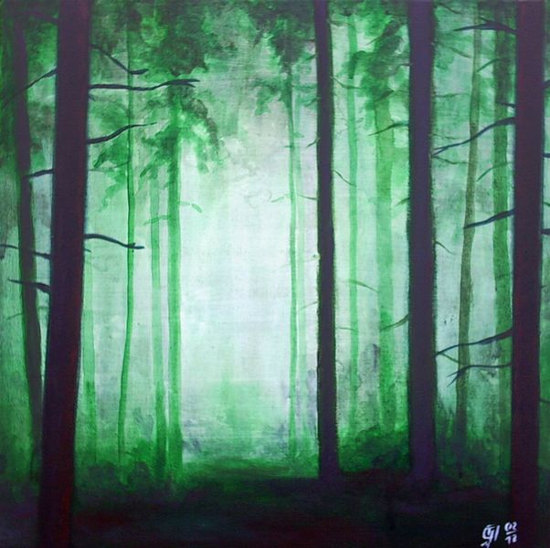 Nebel, Grün, Baum, Wald, Malerei, Seele