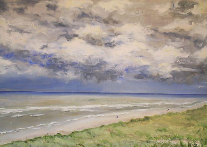 Spaziergang, Strand, Wolken, Meer, Welle, Dünen