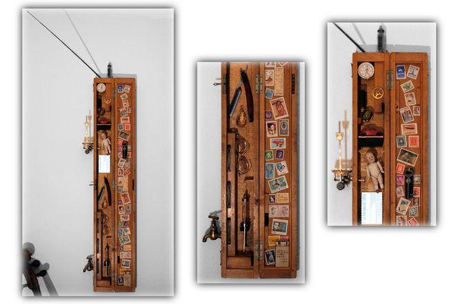 Assemblage, Pendel, Collage, Objekt, Schaukasten, Plastik