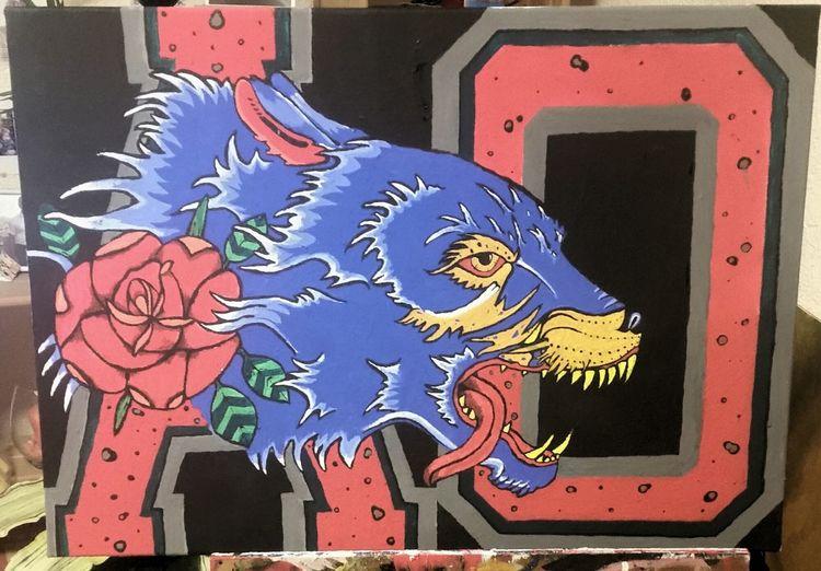 Comic, Hund, 2015, Acrylmalerei, Wolf, Fantasie