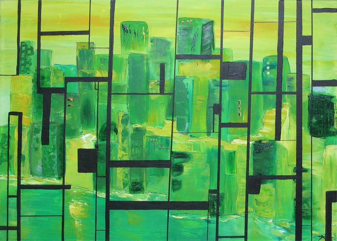 Schnee, Gitter, Abstrakt, Grün, Sicht, Malerei