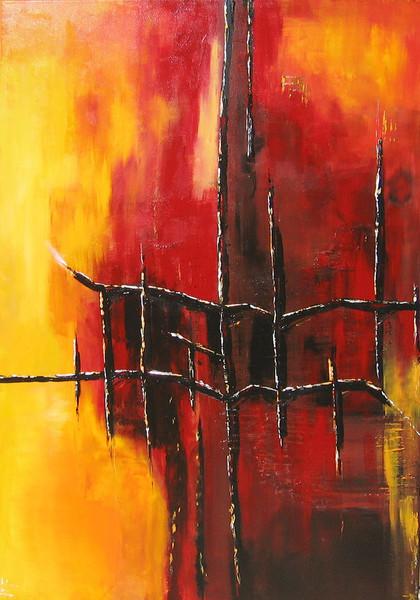 Schnee, Brücke, Rot, Malerei, Abstrakt,