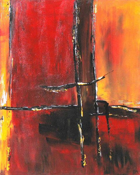 Brücke, Schnee, Rot, Malerei, Abstrakt,