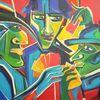 Spieler, Farben, Menschen bunt, Malerei