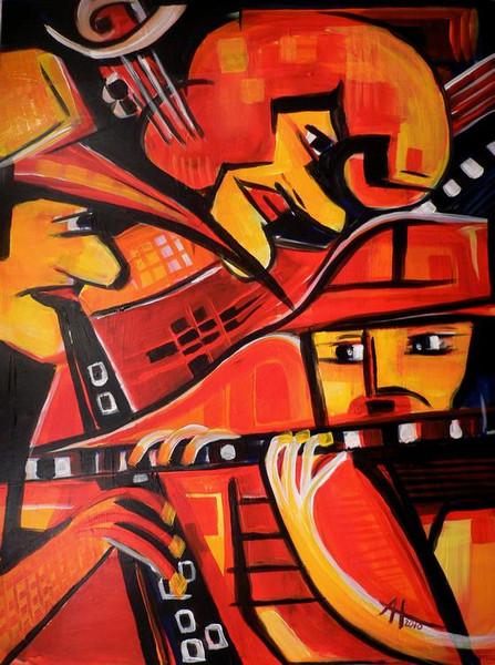 Musik, Rot, Jazz, Malerei
