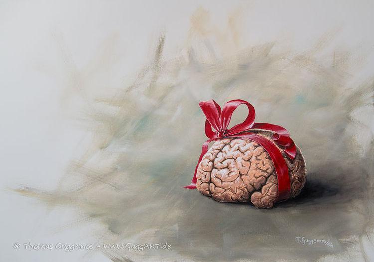 Gehirn, Acrylmalerei, Geschenk, Rot, Guggart, Schleife