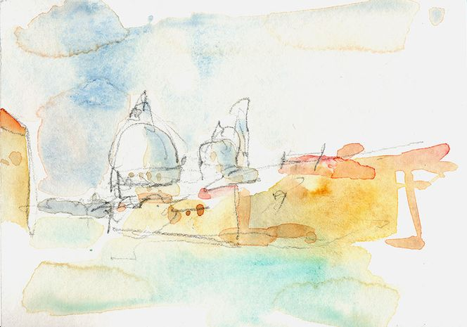 Zitrone, Blühen, Landschaft, Malerei, Venezia