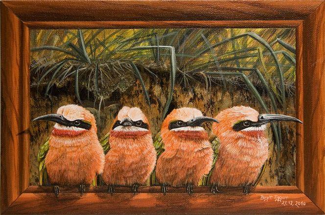 Acrylmalerei, Bienenfresser, Weißstirnspint, Illusionsmalerei, Vogel, Malerei