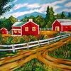 Farmhaus, Amerika, Landschaft, Malerei