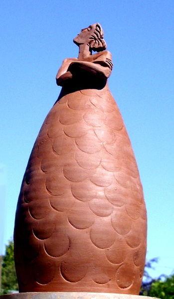 Figur, Gartenplastik, Dekoration, Skulptur, Nixe, Ton