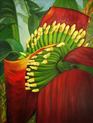 Bananenpflanze, Pflanzen, Exotisch, Ölmalerei, Malerei, Blüte