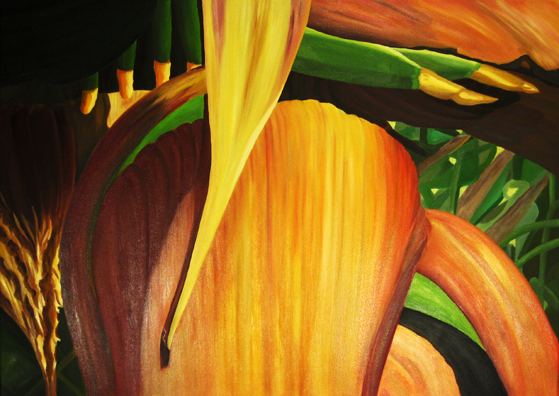 Pflanzen, Ölmalerei, Blüte, Exotisch, Bananenpflanze, Stauden