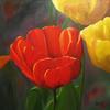 Flora, Blumen, Tulpen, Ölmalerei
