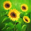 Blumen, Ölmalerei, Sonnenblumen, Blüte