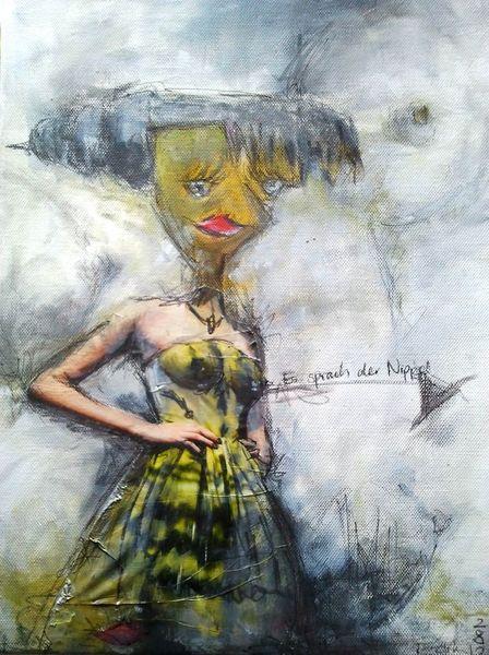 Illusion, Nippel, Redefluss, Model, Brust, Malerei