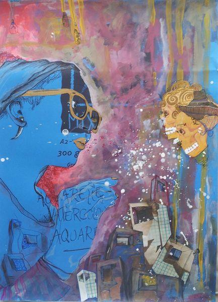 Totenköpfchen, Acrylmalerei, Glitzerwelt, Häusle, Brille, Glitzern