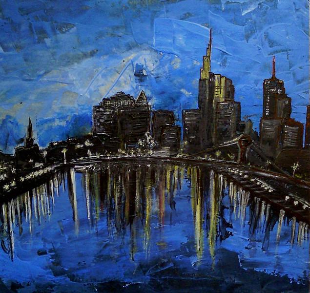 Blau, Spachteltechnik, Nacht, Skyline, Frankfurt main, Malerei