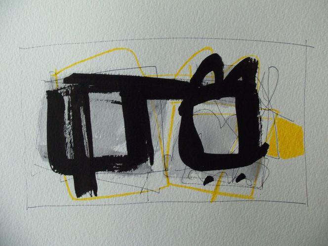 Gelb, Abstrakt, Schwarz, Zeichnungen