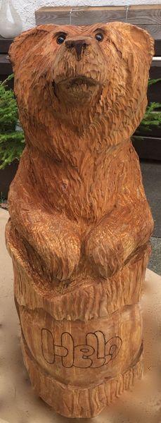 Tiere, Bär, Holz, Erle, Kettensäge, Schnitzkunst