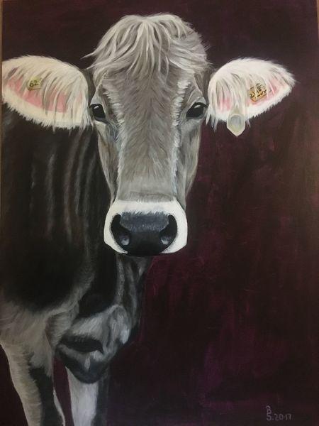 Vierbeiner, Tiere, Handarbeit, Kuh, Malerei