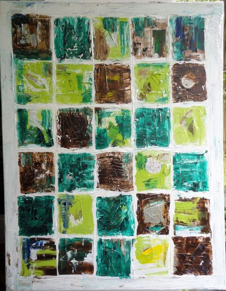 Spachtel, Acryl auf leinwand, Abstrakt, Karo, Muster, Erdfarben
