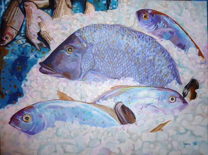 Acrylmalerei, Meer, Fische, Rot, Malerei, Figural