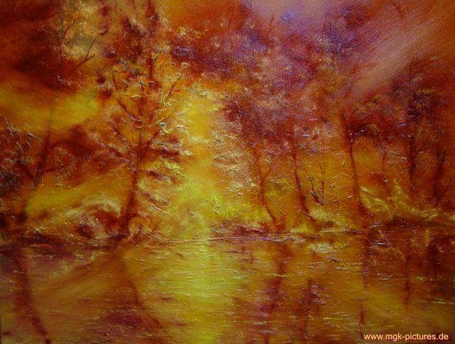 Sonnenaufgang, Weiher, Malerei