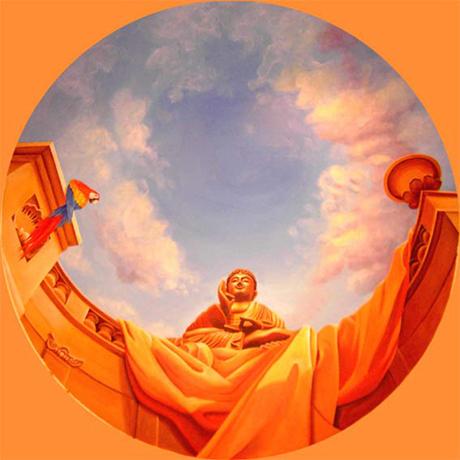 Illusionsmalerei, Wandmalerei, Deckenmalerei, Buddha