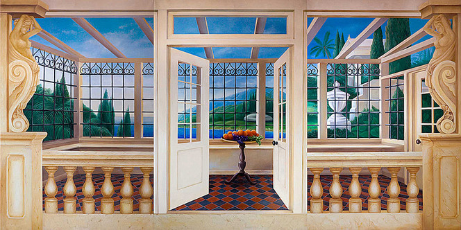 Wandmalerei, Wintergarten, Illusionsmalerei, Malerei