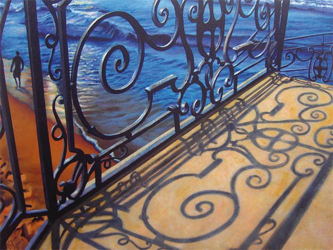 Verzierung, Schatten, Veranda, Meer, Malerei