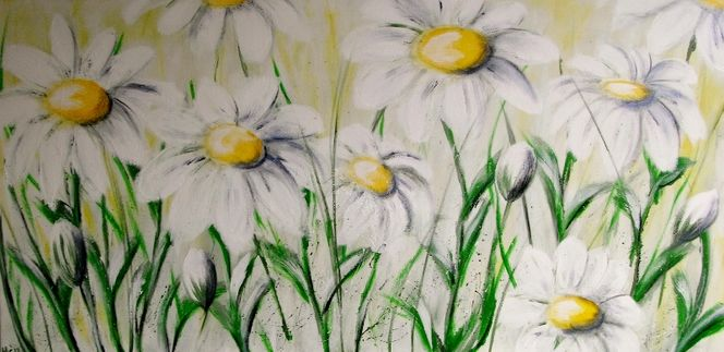 Wiese, Zeit, Acrylmalerei, Sommer, Gelb, Margerite