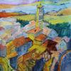Toskana, Cortona, Aquarellmalerei, Arezzo