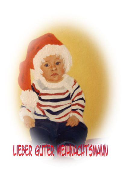 Knuddelig, Jeans, Ölmalerei, Weihnachstmannmütze, Kinderportrait, Auftragsarbeit