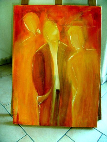Malen, Acrylmalerei, Frau, Orangetöne, Malunterricht, Beziehung