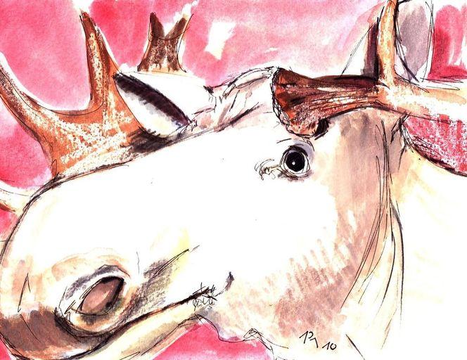 Zeichnung, Malerei, Gouachemalerei, Figural, Weihnachten