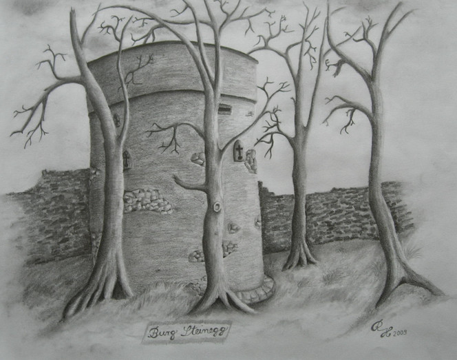 Bleistiftzeichnung, Burg, Zeichnungen