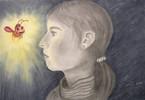 Glühwürmchen, Pastellmalerei, Gesicht, Portrait