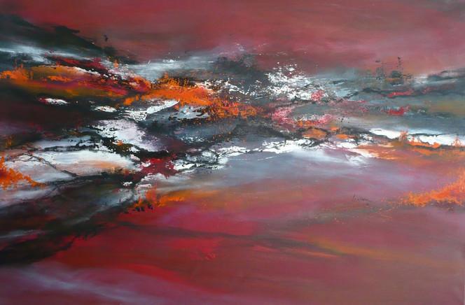 Orange, Landschaft, Grau, Rot schwarz, Nebel, Malerei