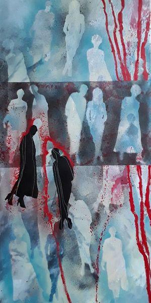Laufsteg, Rot, Model, Linie, Menschen, Blau