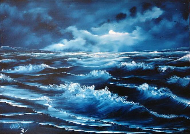 Wolken, Meer, Mond, Welle, Himmel, Gischt