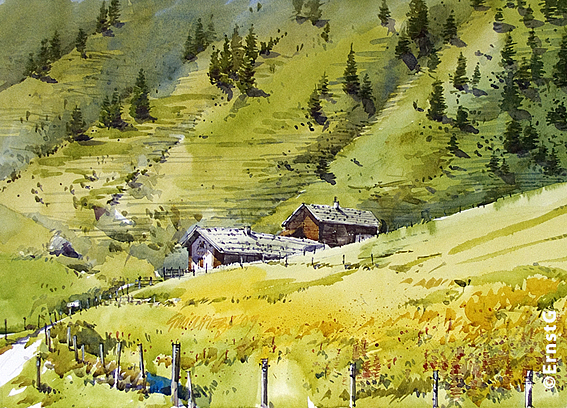 Alm, Landschaft, Salzburger land, Hochkoenig, Aquarell