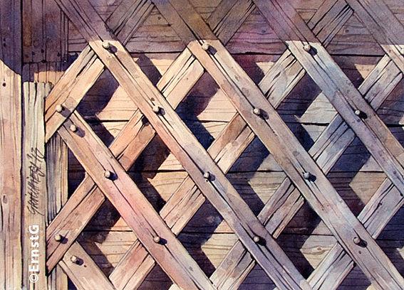 Niederbayern, Handwerk, Holzbearbeitung, Aquarell
