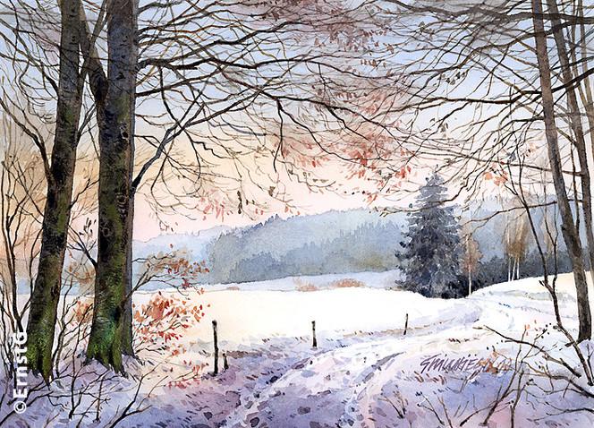 Wald, Winter, Aquarellmalerei, Jahreszeiten, Landschaft, Aquarell