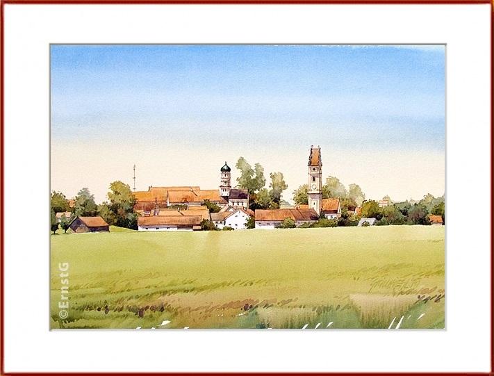 Petzenhausen, Sommer, Ortschaft, Aquarell