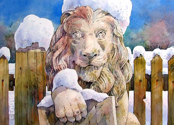 Winter, Löwe, Wappentier, Aquarellmalerei, Vorgarten, Schnee