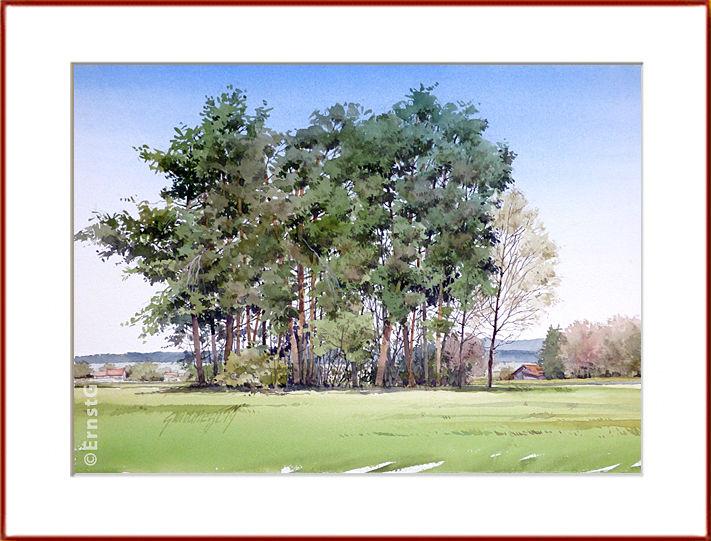 Habertshausen, Waldstück, Ostern, Aquarell