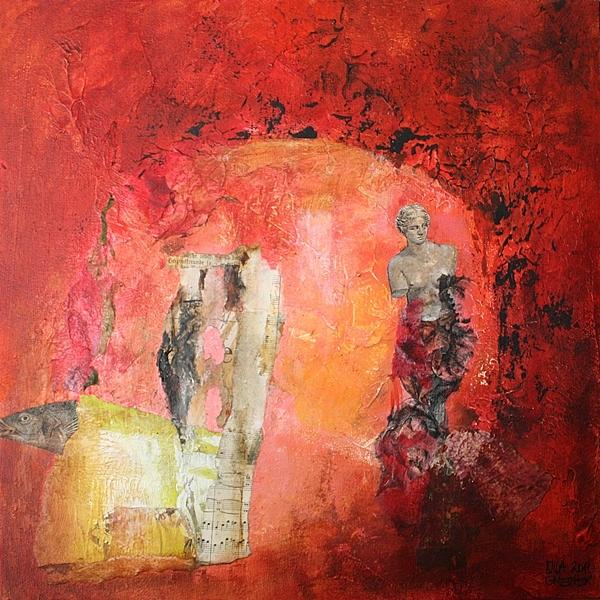 2011, Venus von milo, Collage, Gegenwartskunst, Rot, Gemälde
