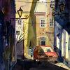 Gasse, Licht, Gebäude, Aquarellmalerei