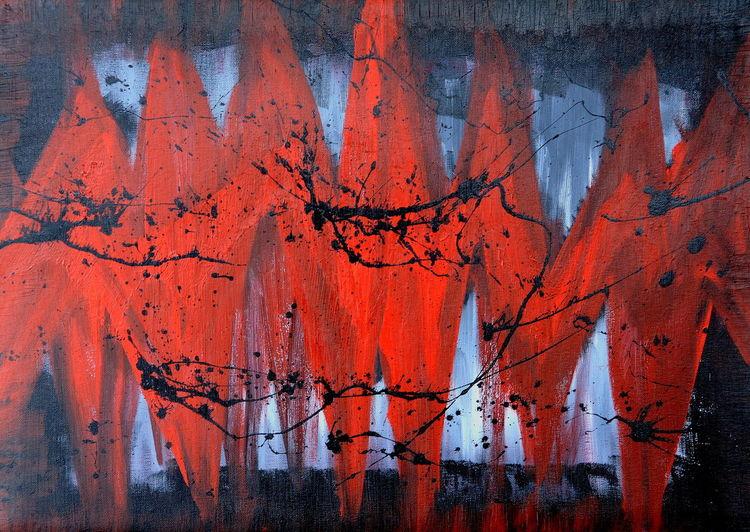 Lack, Krone, Kontrast, Abstrakt, Schwarz, Malerei